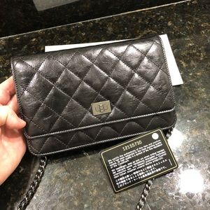 Chanel Wallet on Chain Black Gold Reissue 2.55